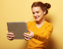 Lifestyle, tehnology and people concept: Happy girl  taking self Stock Photos