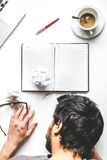 Lifestyle tired businessman top view mock up Royalty Free Stock Photo