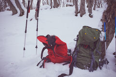 Lifestyle tourism nature winter outdoors, backpack and trekking Royalty Free Stock Images