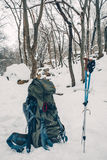 Lifestyle tourism nature winter outdoors, backpack and trekking Stock Image