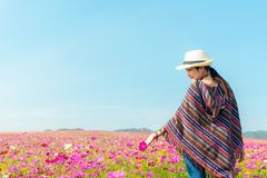 Lifestyle traveler women raise hand feeling good relax and happy freedom on the meadow nature cosmos farm in the sunrise morning. stock photo