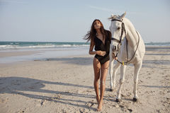 Lifestyle witth horse on the beach Royalty Free Stock Image