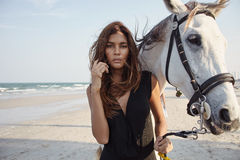 Lifestyle witth horse on the beach Royalty Free Stock Photography