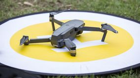 Drone on runway for photogarpher Stock Images