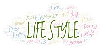 Lifestyle word cloud. Wordcloud made with text only vector illustration