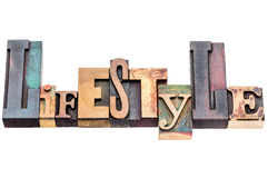 Lifestyle word in mixed wood type Royalty Free Stock Images