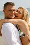 Lifestyle of Young couple on beach Royalty Free Stock Image