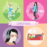 Lifestyles concepts. Man sleeping on sofa. Man with glasses in headphones listening to music. Tennis sport concept with item icons. Beautiful woman with a lot of Royalty Free Stock Images