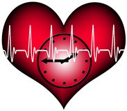 Lifetime. Red plastic heart with a clock inside. Above the heartbeat electrocardiogramm line. A Symbol for our limited lifetime Stock Photo