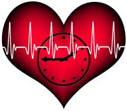 Lifetime. Red plastic heart with a clock inside. Above the heartbeat electrocardiogramm line. A Symbol for our limited lifetime Stock Photos