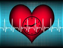 Lifetime. Blue grid with a red plastic heart with a clock inside. Above the heartbeat electrocardiogramm line. A Symbol for our limited lifetime Stock Photography