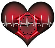 Lifetime. Red plastic heart with a clock inside. A Symbol for our limited lifetime Stock Image