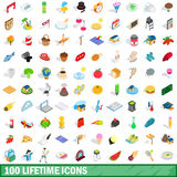100 lifetime icons set, isometric 3d style Stock Image