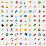 100 lifetime icons set, isometric 3d style Royalty Free Stock Photos
