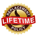 Lifetime Replacement Policy Seal. An illustration of a gold sticker offering a lifetime replacement policy Royalty Free Stock Image