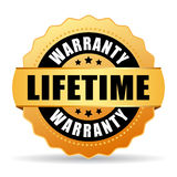 Lifetime warranty gold vector icon Stock Photography