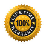 Lifetime Warranty Sign Stock Image