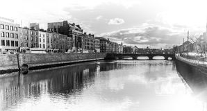 Liffey cityscape in Dublin black and white Royalty Free Stock Photography