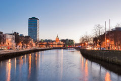 Liffey Quays. The Liffey Quays of Dublin at Dawn Royalty Free Stock Image