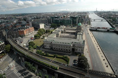 Liffey river Dublin. Liffey river flowing through Dublin aerial view Stock Photo