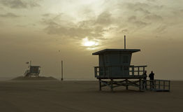 Lifguard shacks, Santa Monica Beach. Lifeguard cabins on the Santa Monica beach, Los Angeles, California stock image