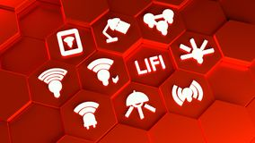 LIFI icons on red hexagon towers concept Royalty Free Stock Photography