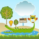 Crocodile and owl cartoon in the swamp. Lifing in the swamp with crocodile and owl. Vector cartoon illustration, no mesh, vector on eps 10 vector illustration
