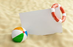 Liflifebelt blanck on a beach. Lifebelt blanck on a beach beach ball Royalty Free Stock Images