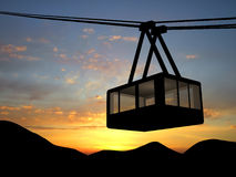 Lift. Sly lift in Alps over sunset Royalty Free Stock Image