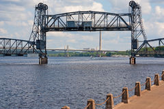 Lift Bridge in Action. Lift Bridge going up over St. Croix river Royalty Free Stock Photo