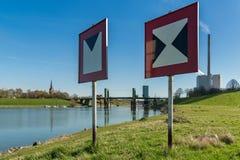 Lift bridge and Power Station Walsum, Duisburg, North Rhine-Westphalia, Germany stock image