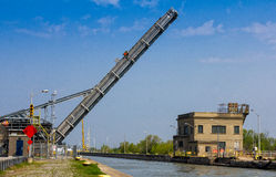 Lift bridge raised. Lift bridge on Welland Canal in Ontario Stock Image