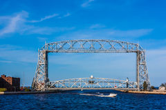 Lift Bridge with small boat Stock Photography