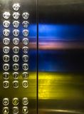 In the lift. In a lift with bright lit numbers Royalty Free Stock Image