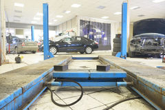 lift in the car-care workshop Royalty Free Stock Images