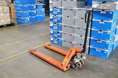 Lift cart in factory warehouse Royalty Free Stock Photography