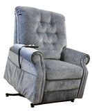 Lift Chair. Contemporary Lift Chair with Recliner in Blue Tweed Fabric Stock Photo