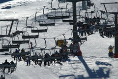 Lift chairs. This is a shot of some lift chairs in Sierra Nevada, the ski resort that is most at the sdouth in Spain Royalty Free Stock Photography