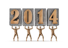Lift 2014. 3D render of bronze male figures lifting year 2014 Stock Images