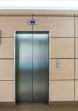 Lift doors in modern style. Made of steel royalty free stock photography