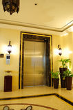 Lift entrance area in night illumination Stock Photo