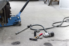 Lift Jack Under A Car Stock Photo