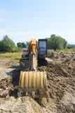 Lift load equipment. Big orange machine lift load Royalty Free Stock Images