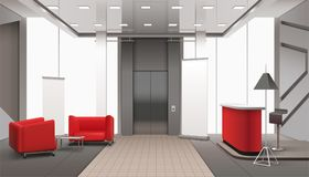 Lift Lobby Realistic Interior. Lobby interior realistic composition with red sofa elevator doors lamps with shades and daylight windows vector illustration Stock Image