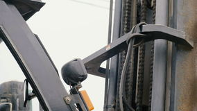 The Lift Mechanism Of The Loader stock footage