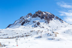 The lift. And the mountain in the resort of Val d'Isere, Rhone-Alpes, France Royalty Free Stock Photography