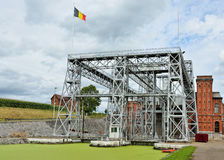 Lift Number 1 of Louviere in Houdeng-Goegnies, Belgium. Hydraulic boat Lift Number 1 of Louviere in Houdeng-Goegnies, classified by UNESCO as World Heritage Site stock images