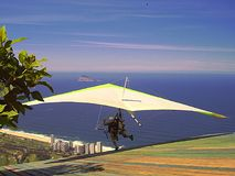 Lift off for tandem hang gliders in Rio de Janeiro royalty free stock images