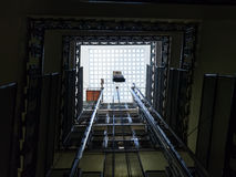 Lift shaft in old multistory house. In Rome Royalty Free Stock Images