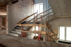 Lift shaft and stairs on a building site Royalty Free Stock Photo